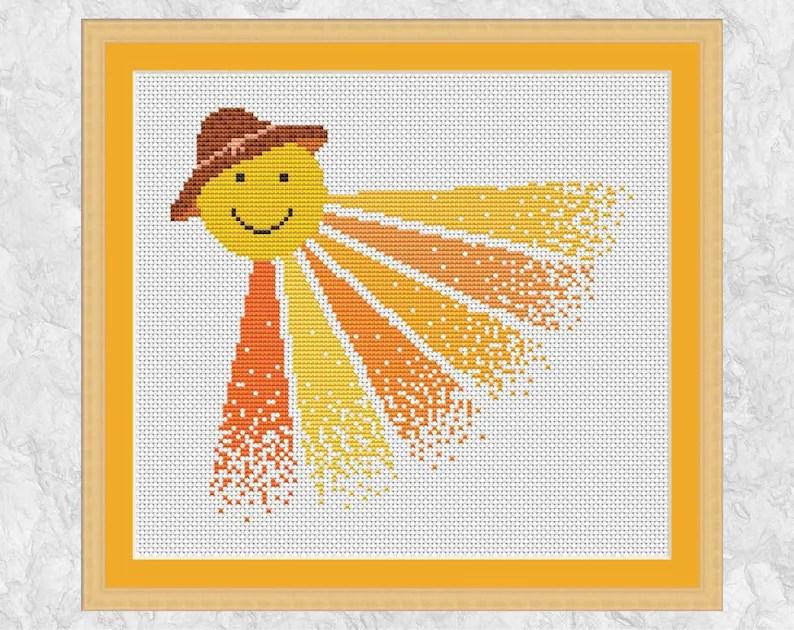 Sun cross stitch pattern printable cross stitch chart Etsy