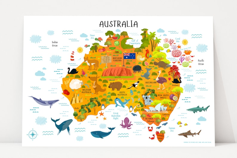 Australia Map Printable Wall Art Digital Download up to Etsy