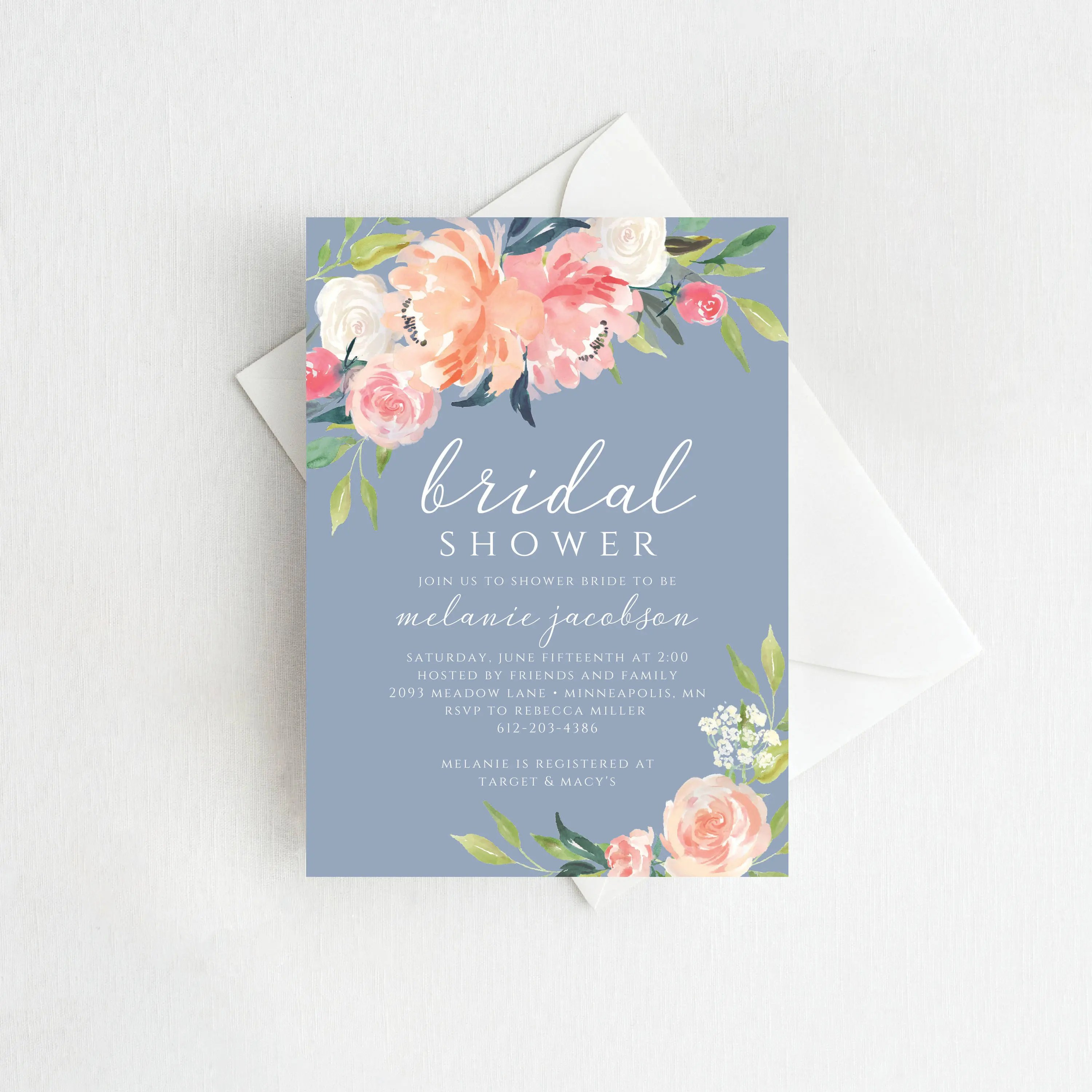 Dusty Blue Bridal Shower Invitation, Printable Bridal Shower