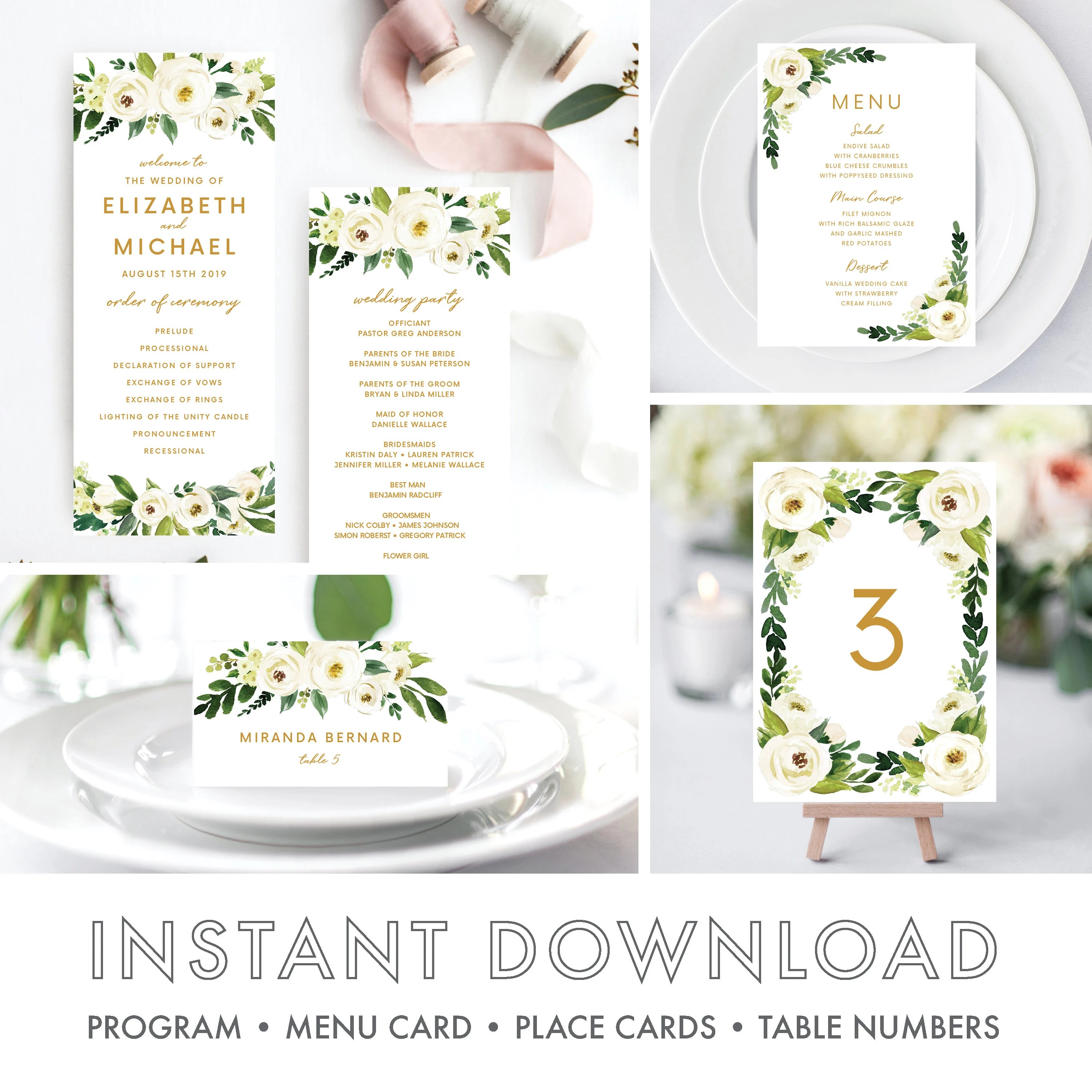Wedding Programs Template, Order of Ceremony Printable, Wedding