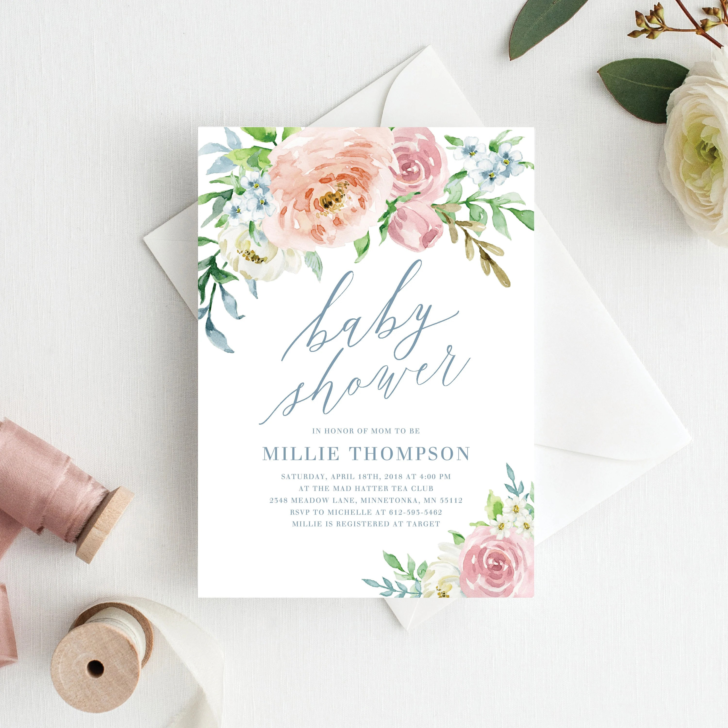 Floral Baby Shower Invitation Template Printable Floral Baby Shower