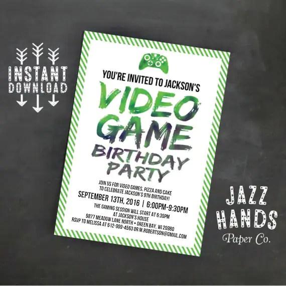 Printable Video Game Birthday Invitation Template DIY Video Game