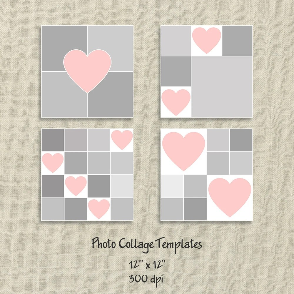 4 Photo Templates Photo Collage Template Hearts Card Etsy