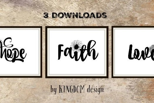 Faith hope love wall decor Printable art sign Black and Etsy
