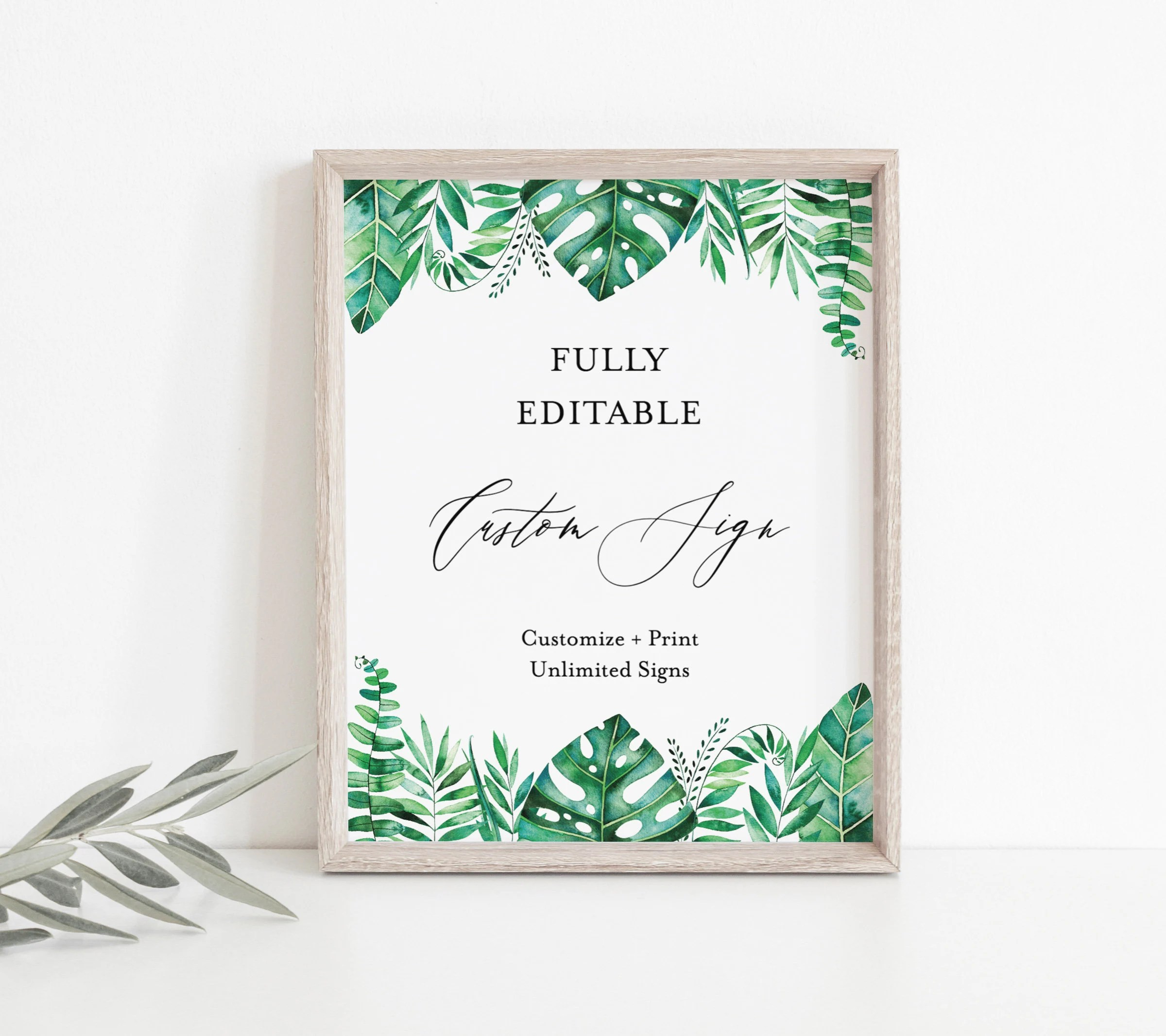 Tropical Greenery Editable Sign Printable Palm Leaf Etsy
