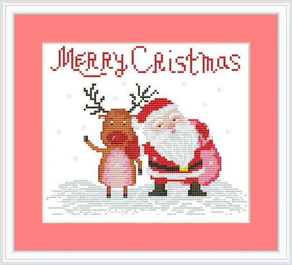 Merry Christmas Santa Claus with funny deer Cross stitch Etsy