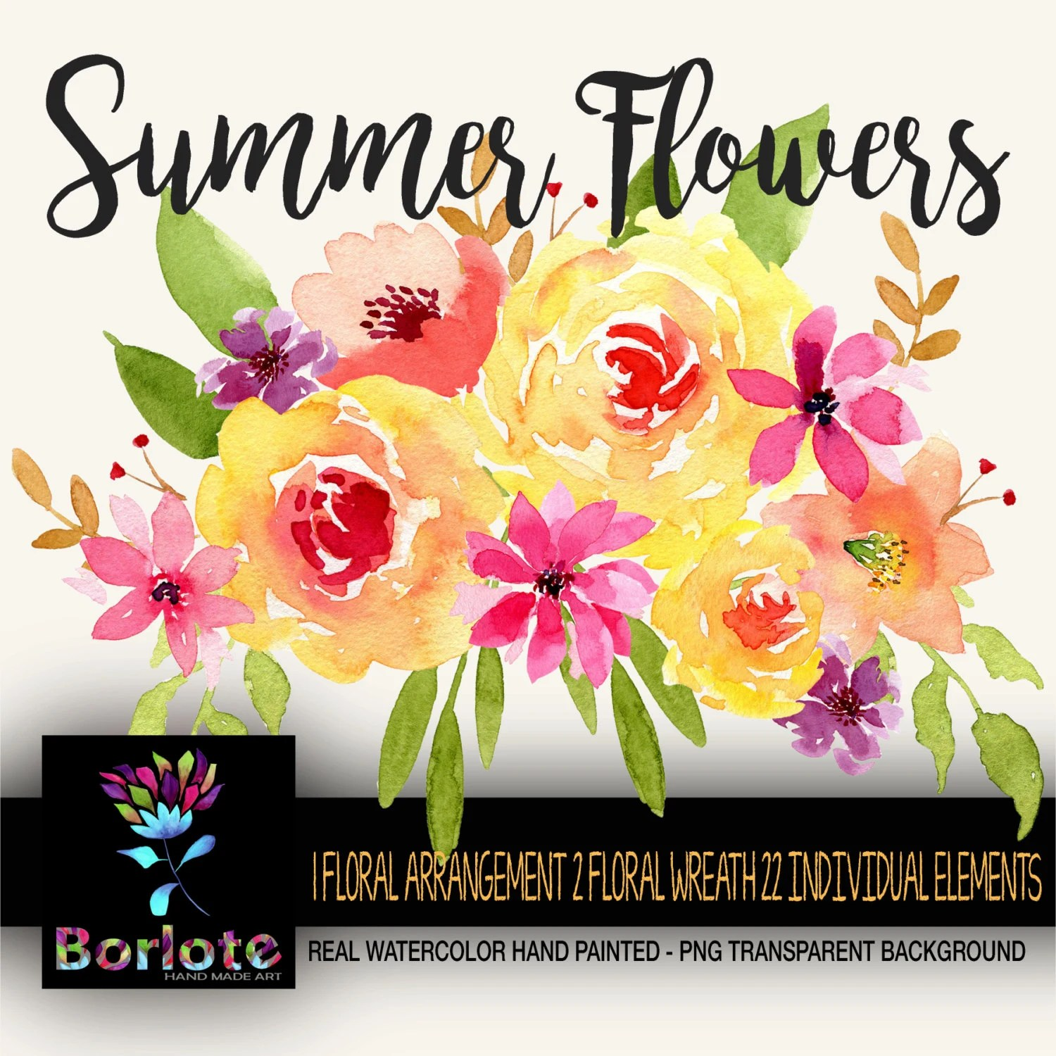 Summer Flowers Watercolor Flowers Clipart PNG hand made Etsy
