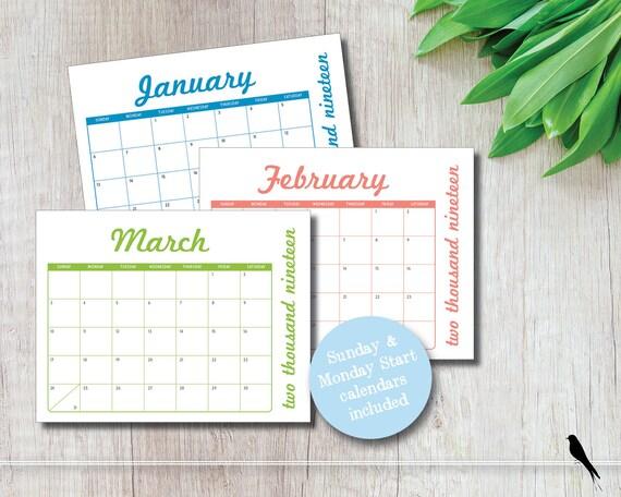 Fun 2019 Printable 12 Month Wall Calendar Modern Colorful Etsy