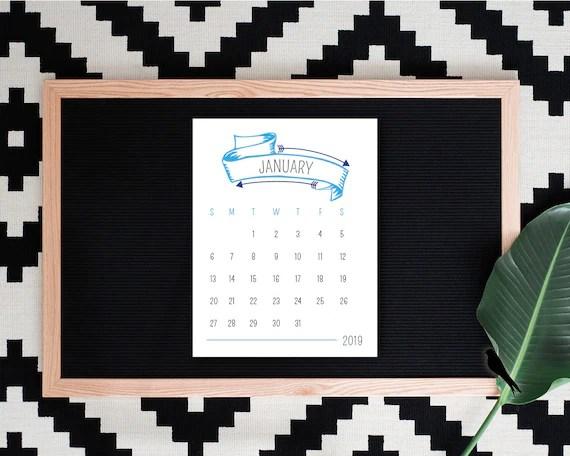 2019 Printable Desk Calendar Fun Arrow 12 Month Calendar Etsy