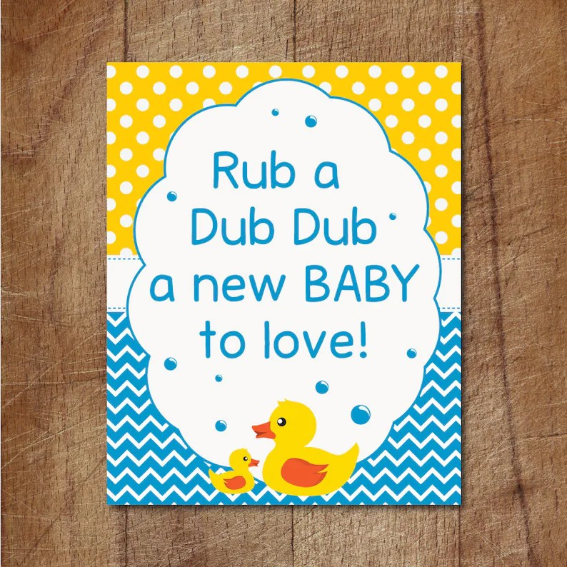 Rubber Ducky Baby Shower Sign Rub A Dub Dub Baby Shower Etsy