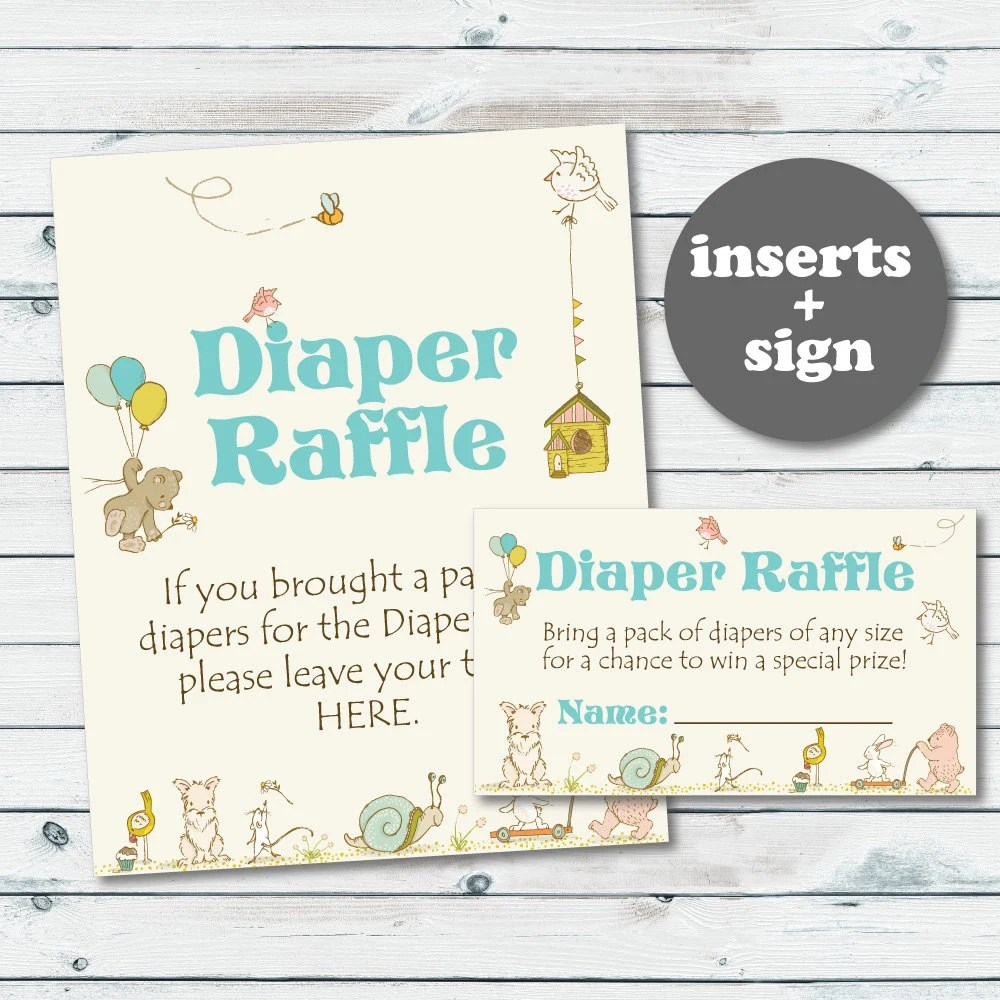 Diaper Raffle Tickets Printable Baby Diaper Raffle Cards And Etsy