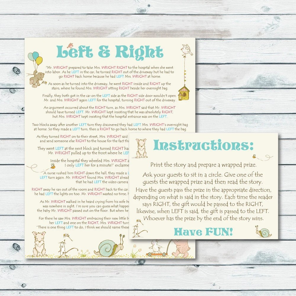 Left Right Baby Shower Game Printable Left or Right Storybook Etsy