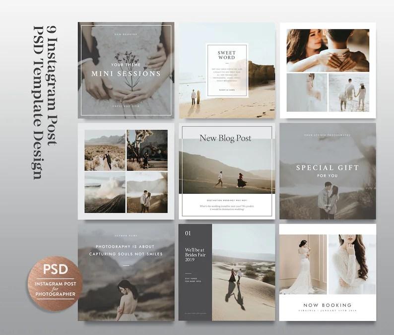 Instagram Templates for Social Media Digital Photoshop PSD Etsy