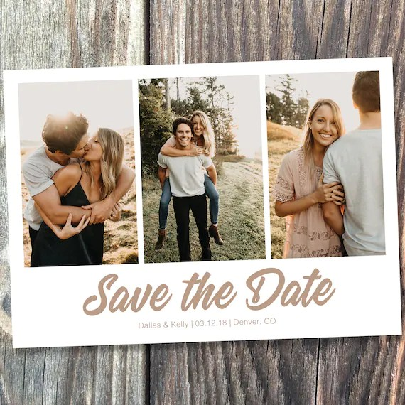 Save the Date Template with Photo Card Photoshop Template Etsy - postcard collage template