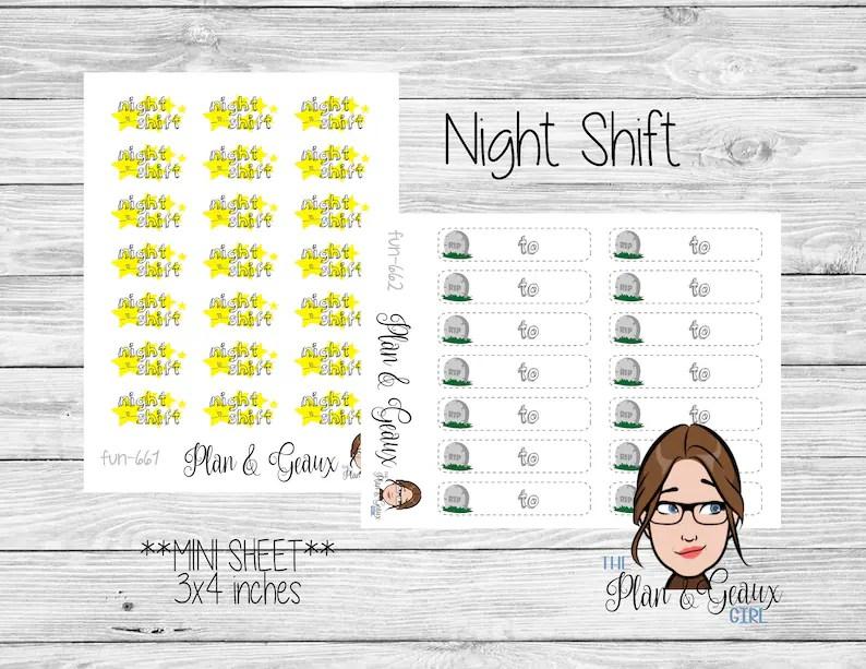 Night Shift Planner Stickers Graveyard Shift Work Schedule Etsy