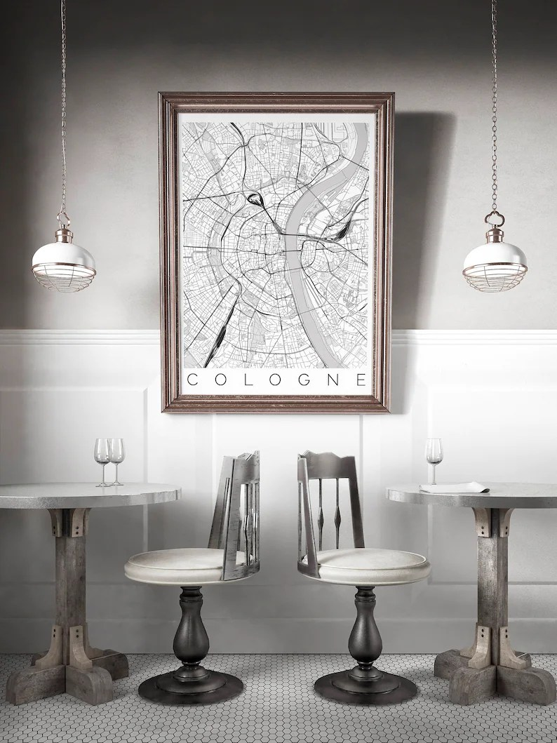 Ikea Bank Wiesbaden Map Of Cologne Germany Fits Ikea Frame Köln Decor Map Art Wanderlust Poster Germany Print Scandinavian Art Long Distance Love