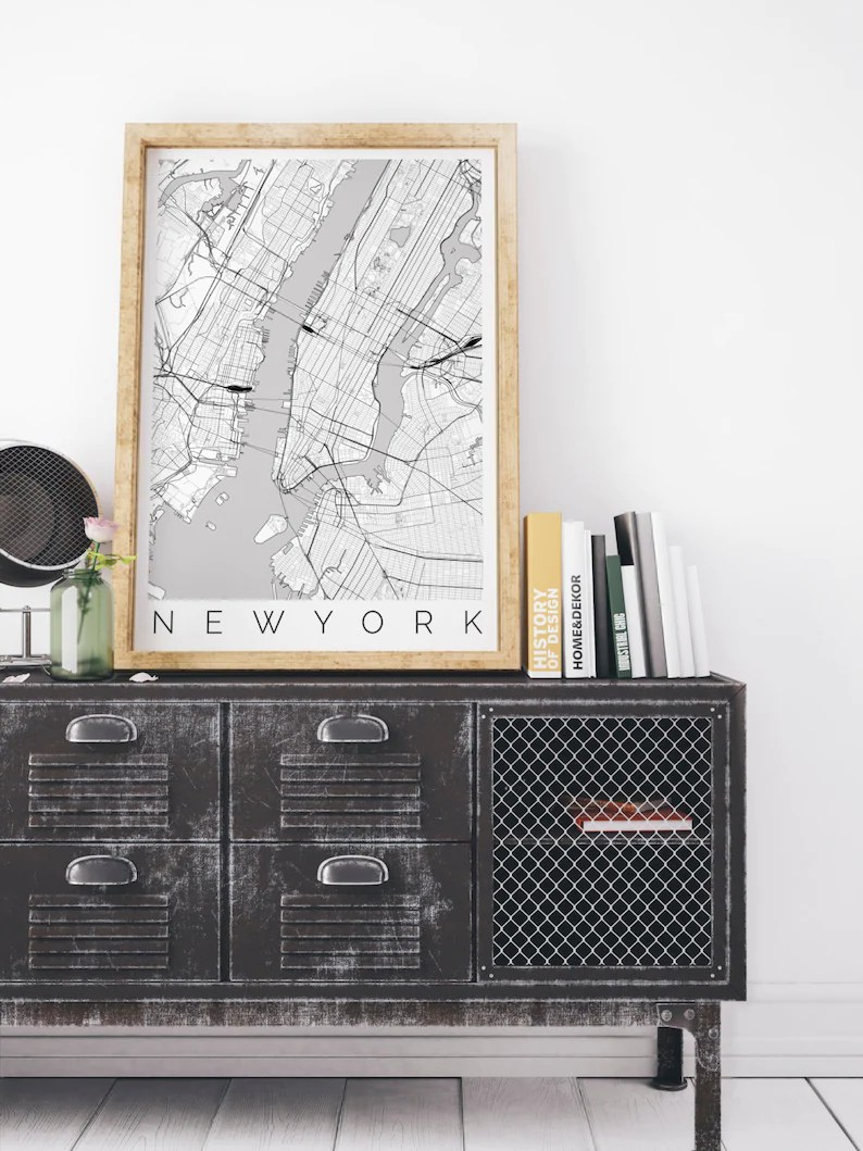 Ikea Poster Map Of New York Fits Ikea Frame Map Art New York Poster New York Print Scandinavian Art Travel Map New York Travel Poster