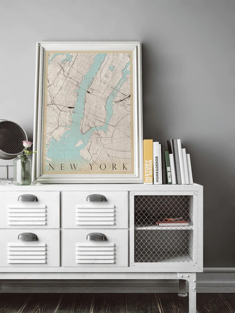 New York Poster Ikea Vintage Style Map Of New York Fits Ikea Frame Map Art New York Print Scandinavian Art Travel Map New York Travel Poster