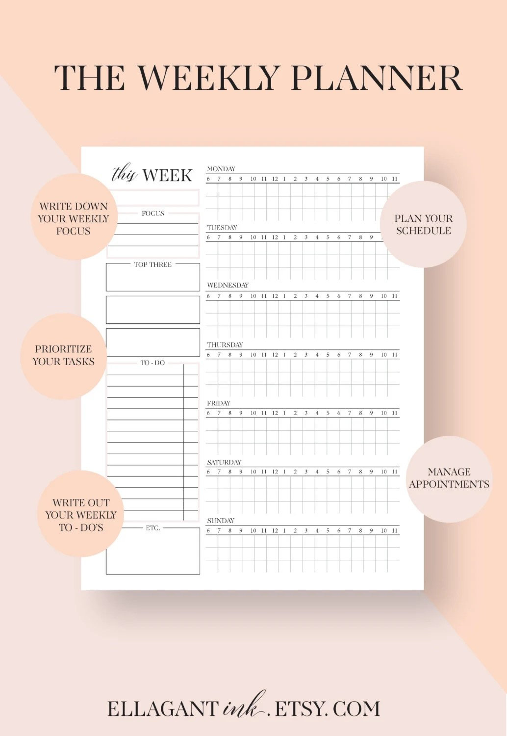 weekly planner inserts weekly schedule weekly planner pages Etsy