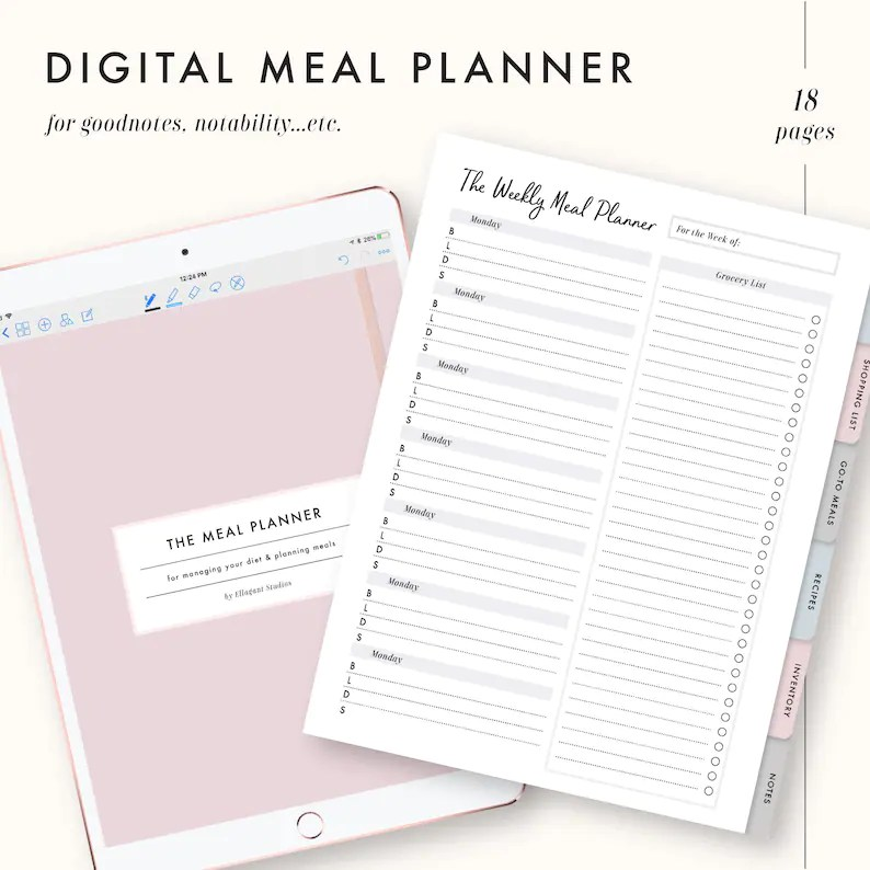 Digital Meal Planner goodnotes template notability template Etsy