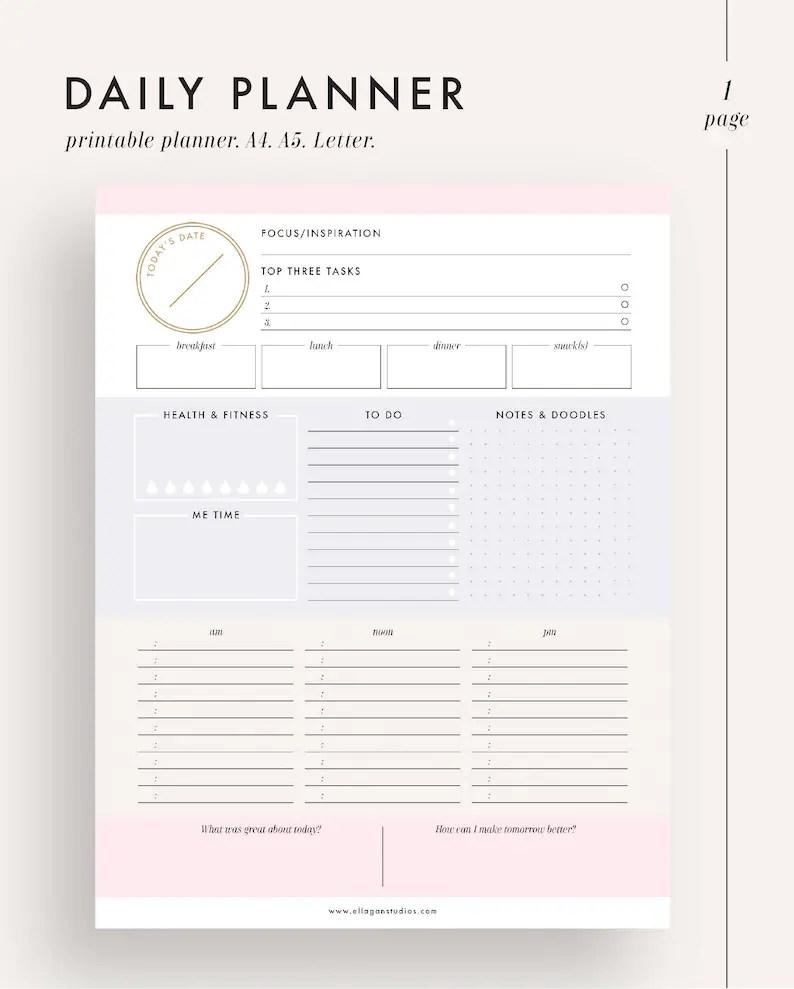 Daily planner printable planner planner inserts planner Etsy
