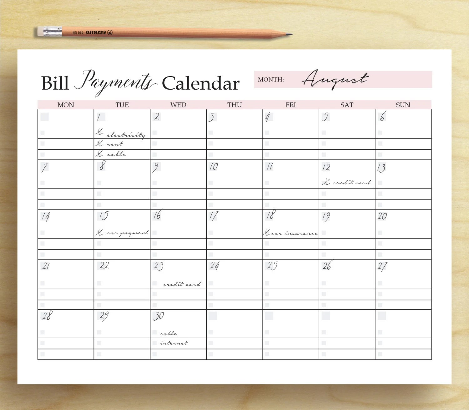 Bill Payments Calendar Bill Tracker Personal Finance Etsy
