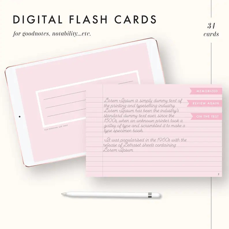 Digital flash cards good notes templates lined dot grid Etsy