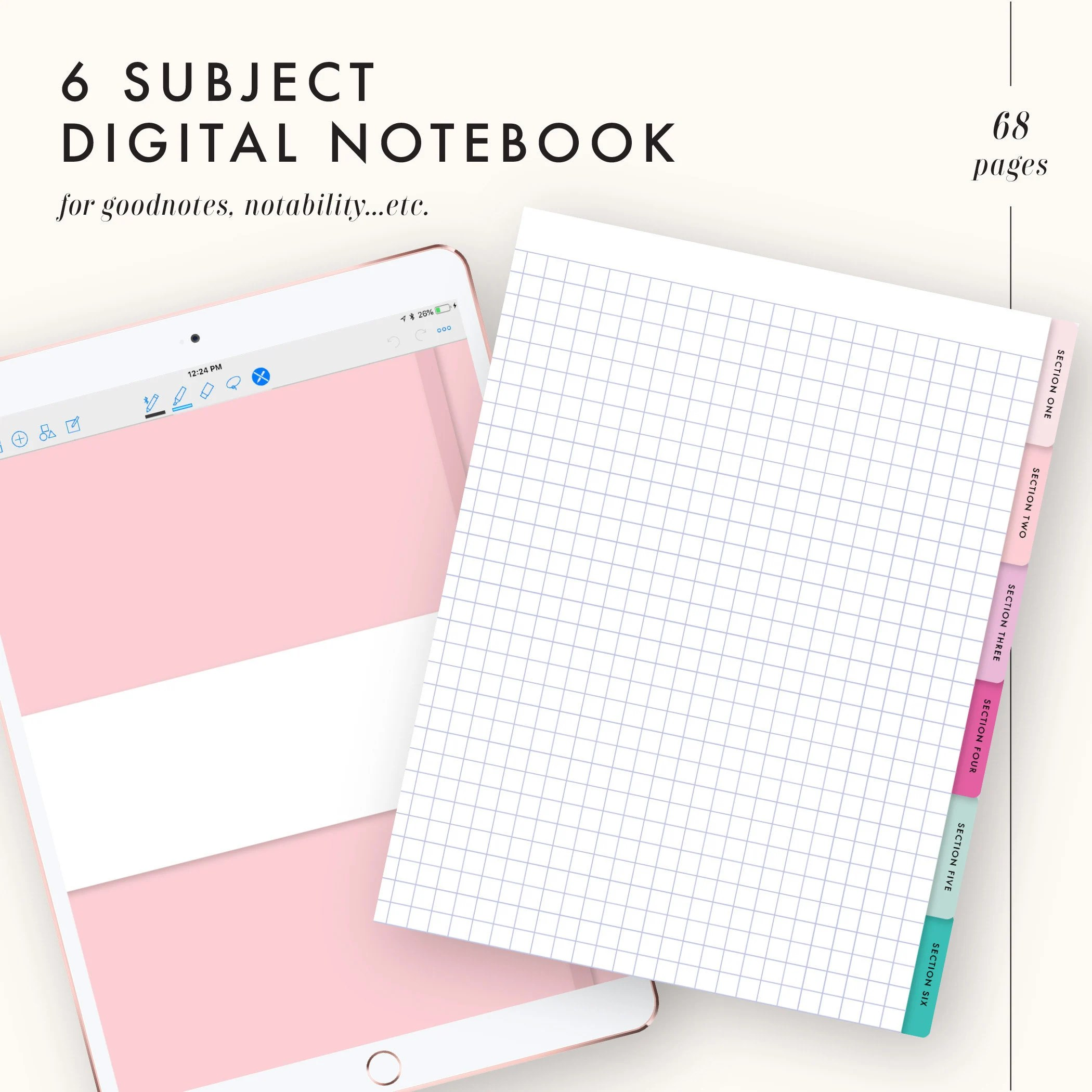 Goodnotes template goodnotes notebook notability template Etsy