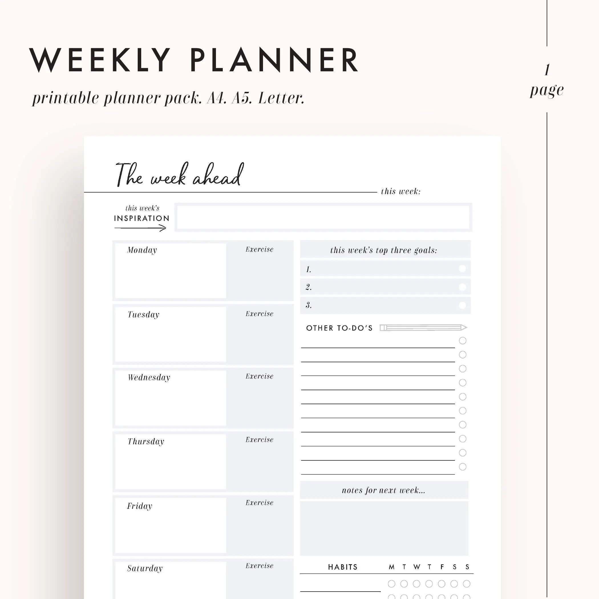 Weekly planner inserts weekly to do list printable planner Etsy