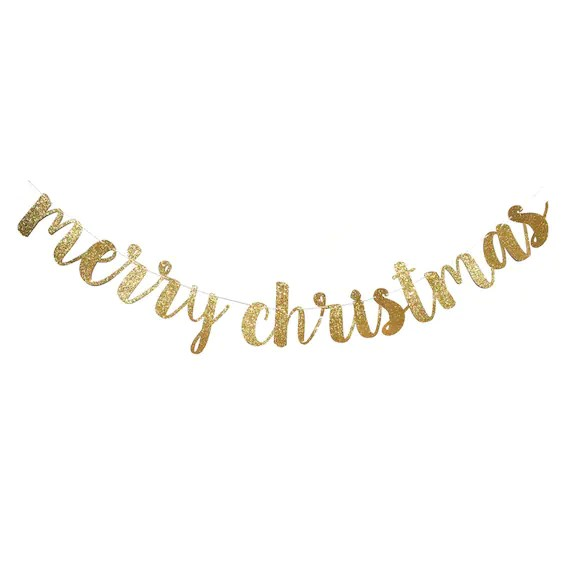 Merry Christmas Banner Christmas Decorations Merry Etsy