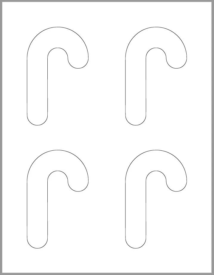 4 inch Candy Cane Template-Printable Template-Holiday Etsy