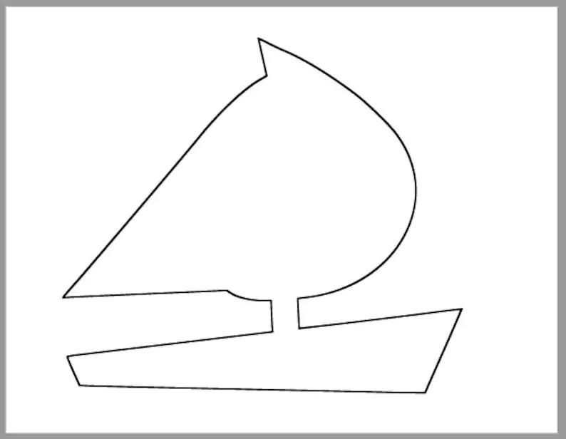 8 inch Sailboat Printable Template-Large Sailboat Etsy