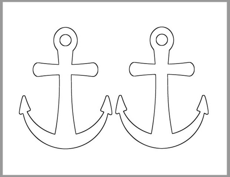6 inch Printable Anchor Template-Beach Theme Cutout-Nautical Etsy