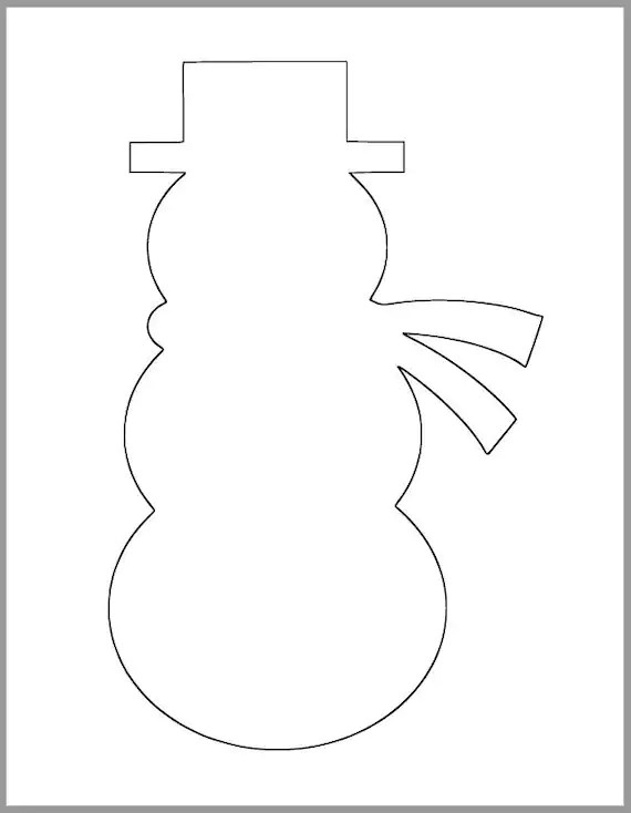 9 inch Snowman Printable Template-Instant Download-Classroom Etsy