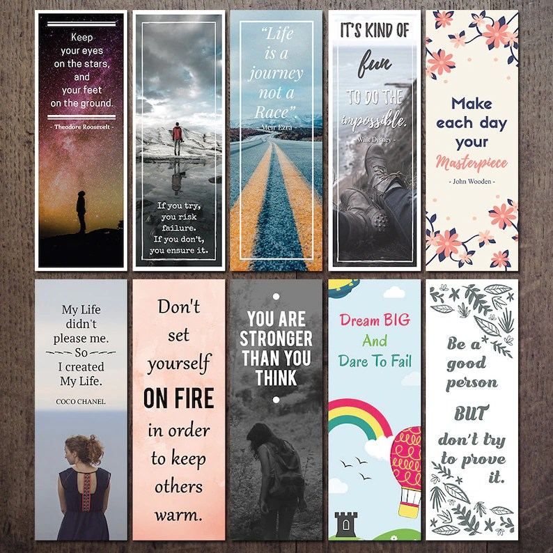 Printable Quote Bookmark Set Motivational and Inspirational Etsy