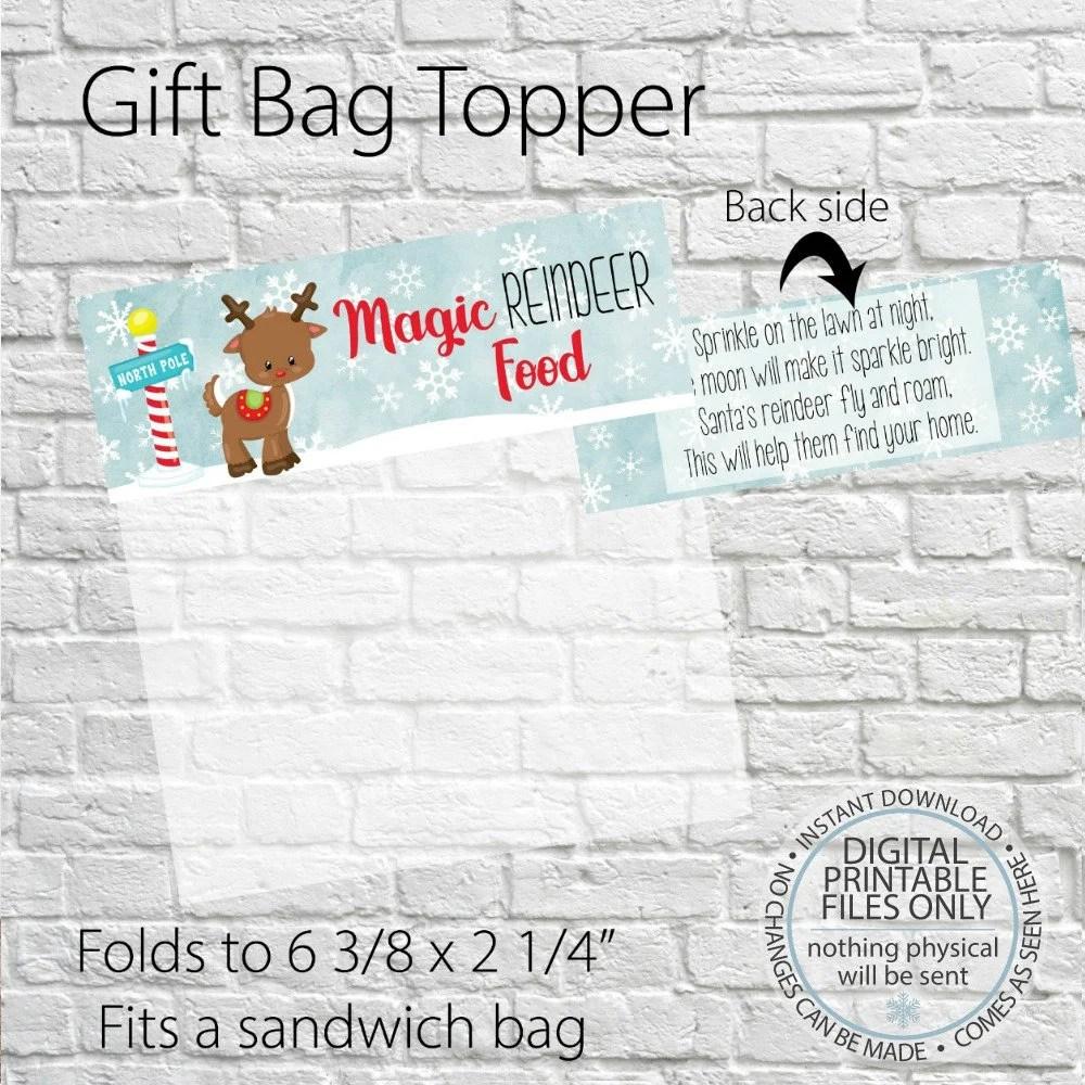 Printable Magic Reindeer food bag topper Christmas Printable Etsy