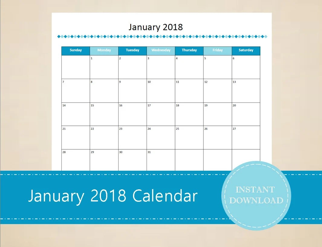 Printable January 2019 Calendar Seasonal monthly calendar Etsy