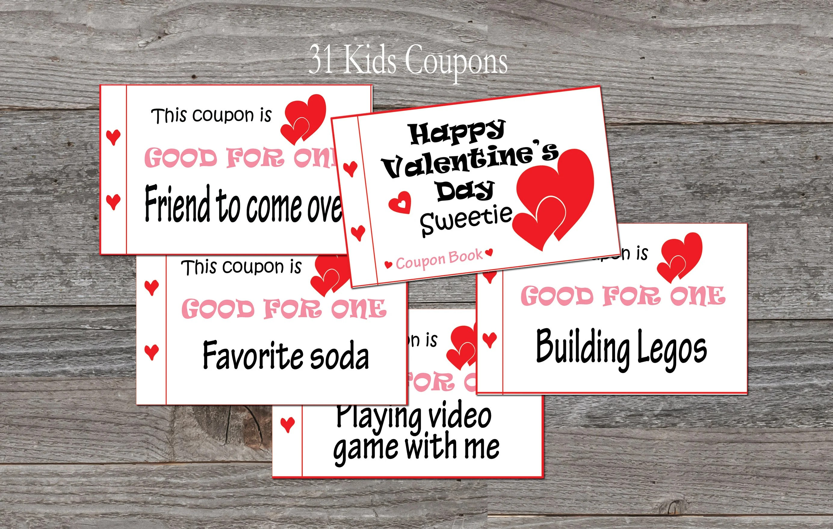 Kids Valentine\u0027s Day coupon book for kids 31 coupons Etsy