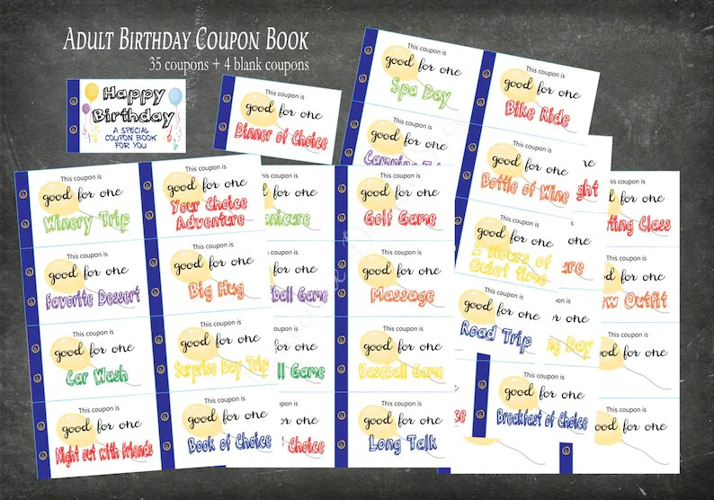 Birthday coupon book for Adults 35 coupons 4 blank Adult Etsy