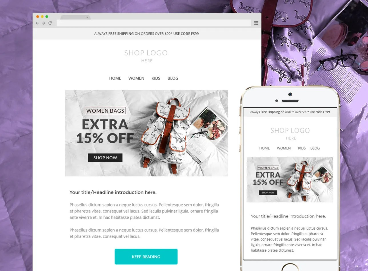 Mailchimp newsletter template Responsive Enhancement email Etsy