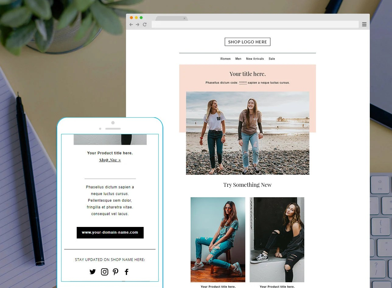 Email newsletter template Mailchimp Newsletter Template Etsy