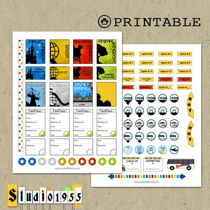 PRINTABLE Disney World planner stickers for use with Erin Etsy