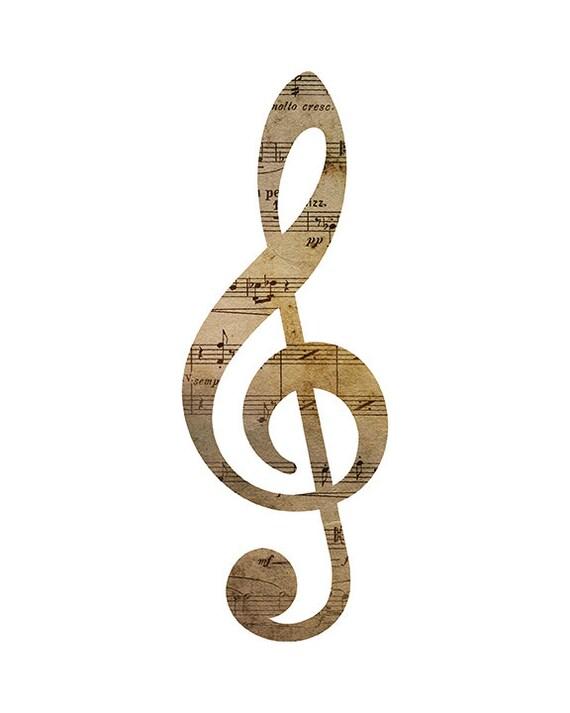 Treble Clef Musical Wall Art Print Music Printable Art Print Etsy