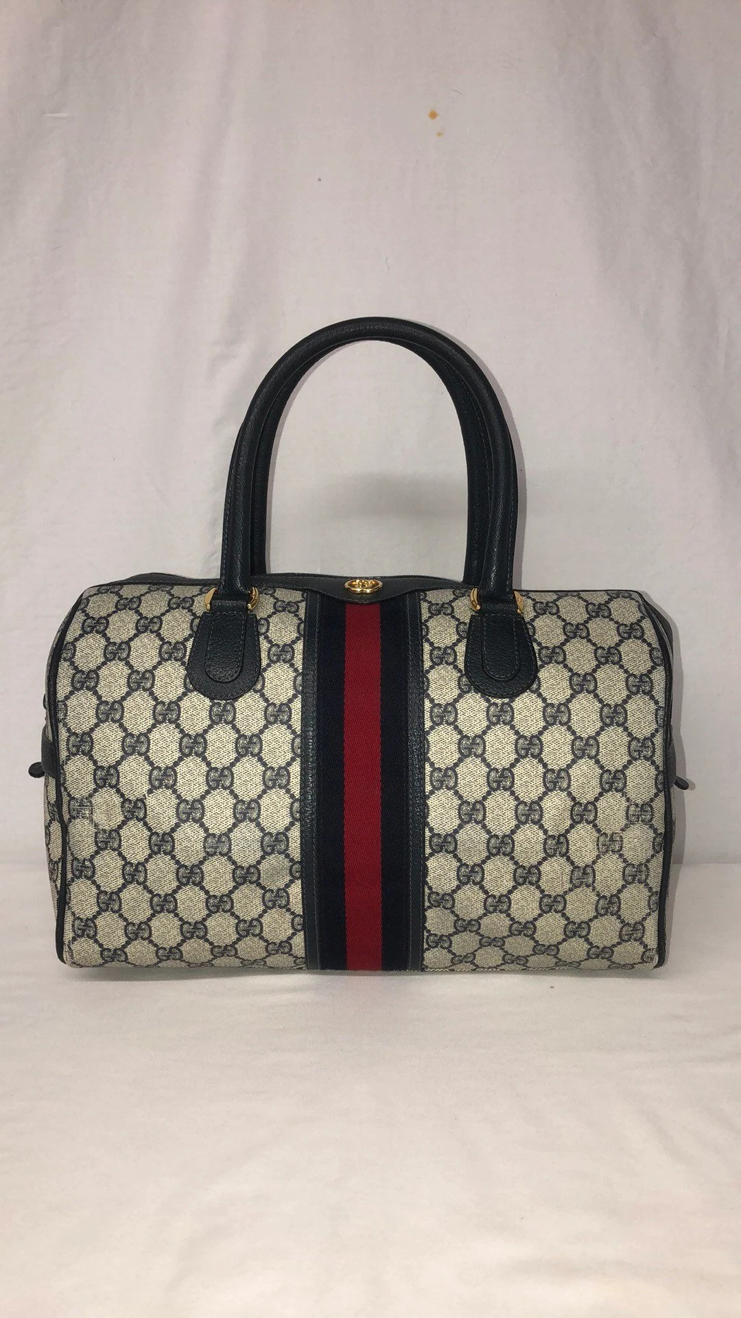 Etsy Vintage Gucci Authentic 80 S Vintage Gucci Supreme Gg Web Boston Speedy Bag Satchel 35cm