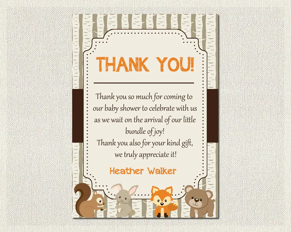 Fox Meubles Algerie Baby Shower Thank You Card Boys Girls Gender Neutral Woodland Baby Fox Shower Boy Gender Neutral Print Yourself Thank You Diy Bs 3