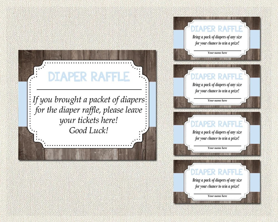 DIAPER RAFFLE Diaper Raffle Tickets + Sign Baby Shower Rustic Wood