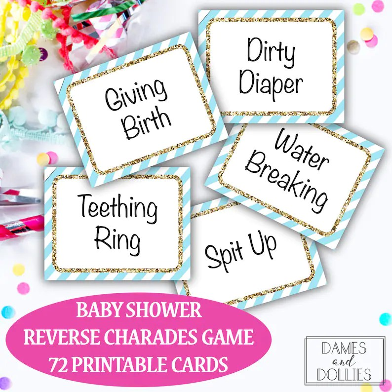 Baby Shower Game Baby Shower Charades Cards Printable Baby Etsy