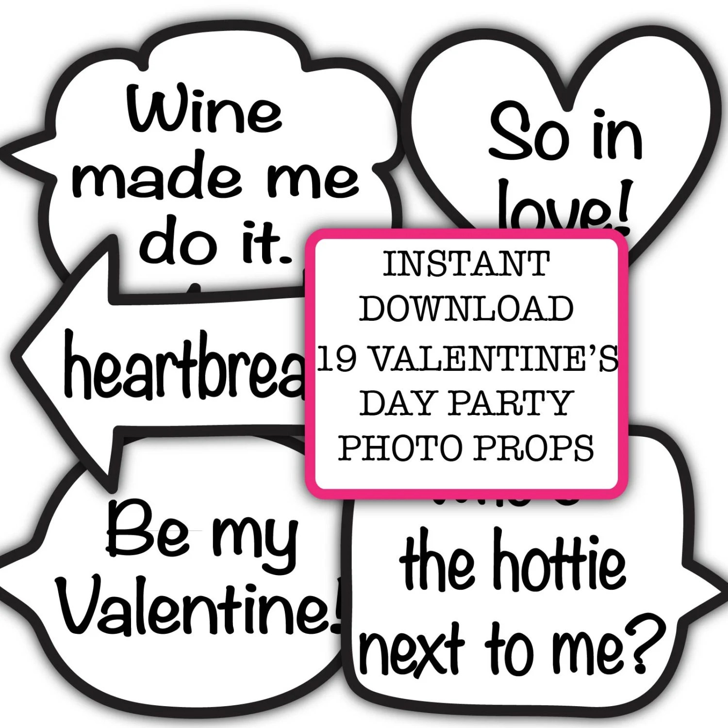 Funny Valentine\u0027s Day Party Photo Booth Props INSTANT Etsy