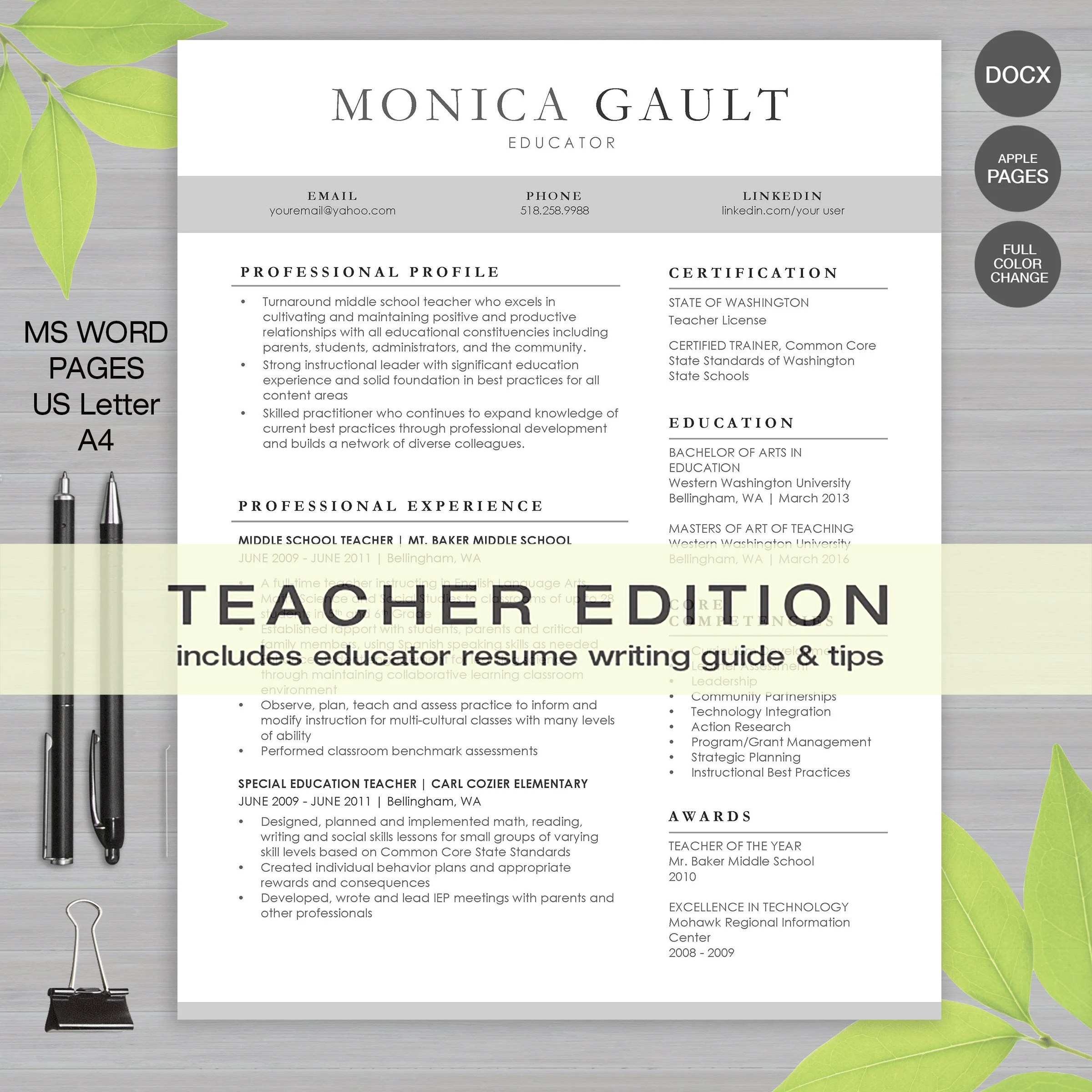 TEACHER RESUME Template For MS Word and Pages Letter and A4 Etsy