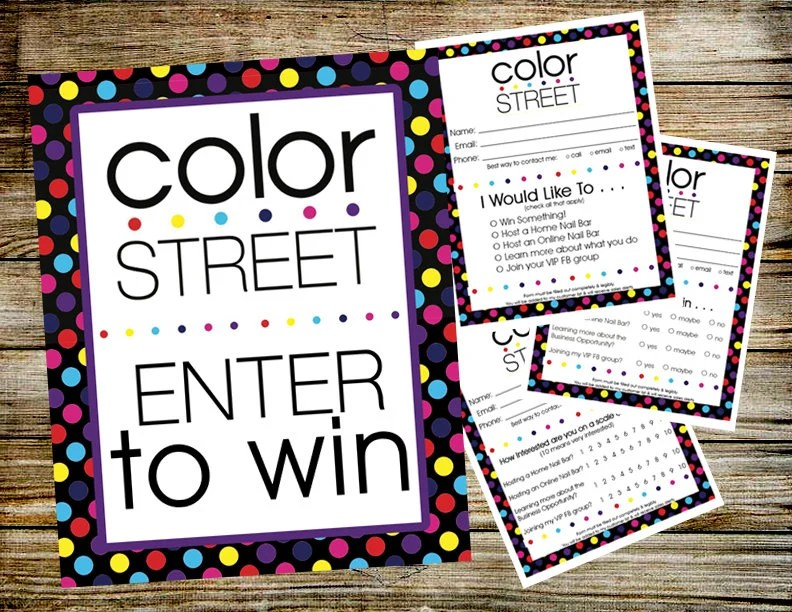 COLOR STREET Rainbow Enter to Win Door Prize Drawing Etsy